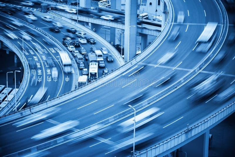 Bezige verkeersclose-up en verkeersongeval stock afbeelding