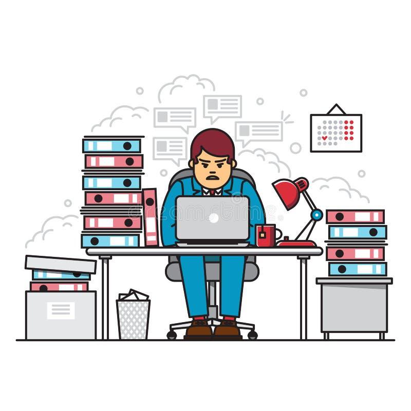 Bezige, vermoeide en boze hardworking mens die laptop met behulp van terwijl het zitten in het midden van omslagen met documenten stock illustratie