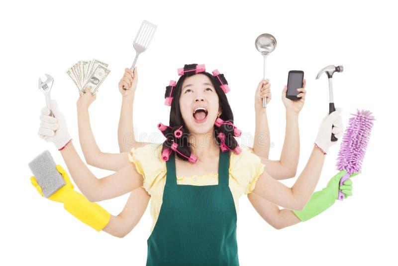 Bezige vrouw met multitasking concept stock afbeelding
