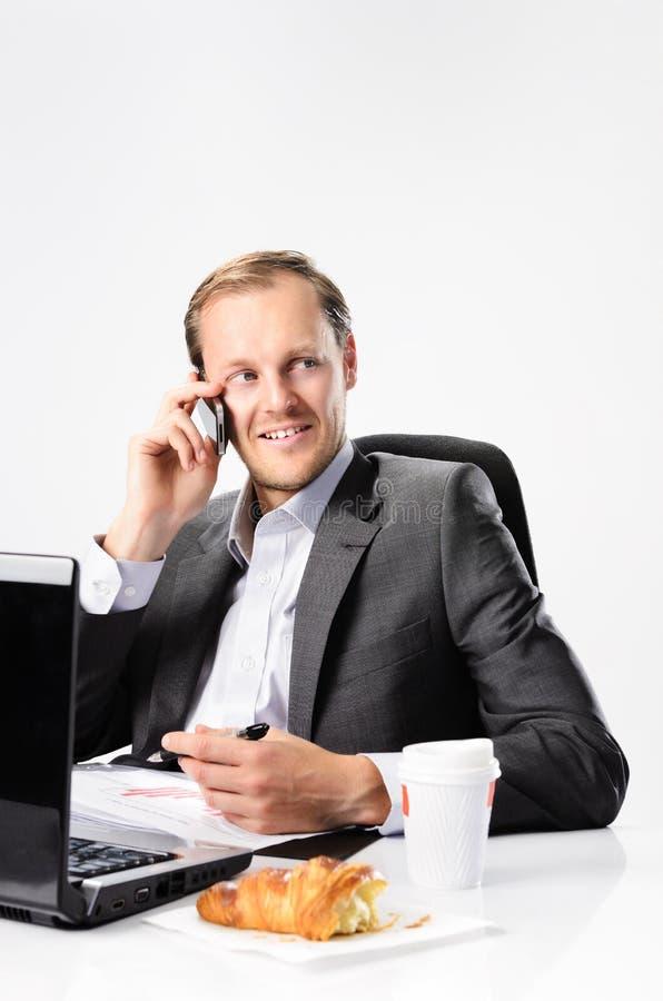 Bezige zakenmanbesprekingen op celtelefoon stock fotografie