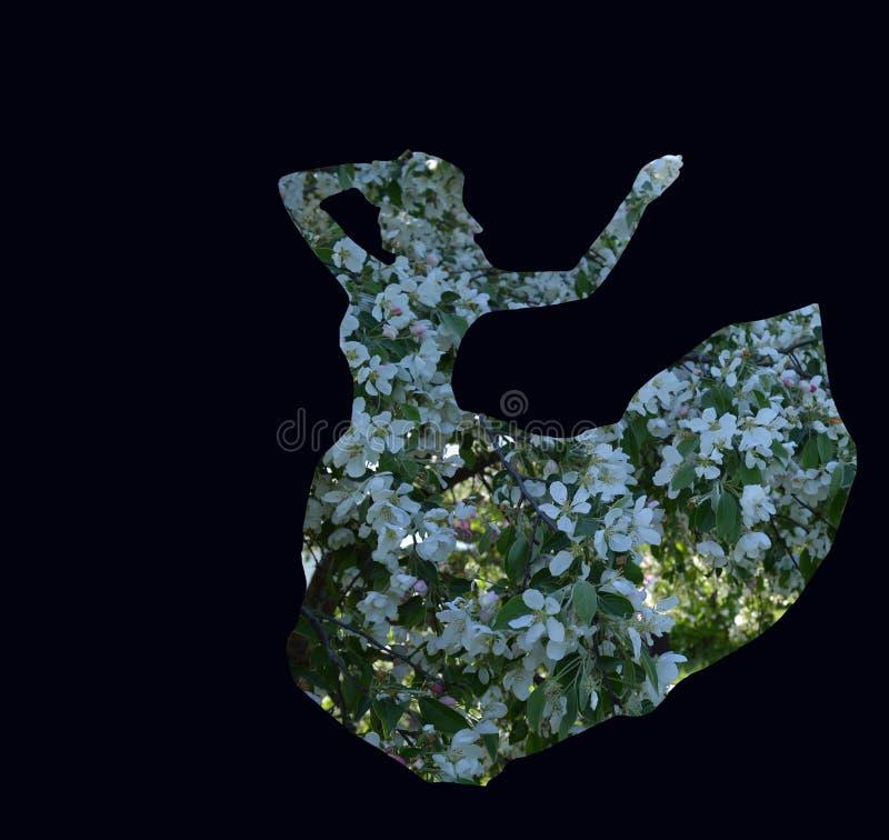 Bezinning van de binnen 3D wereld van de gedachten van het meisje in een dubbele expositie, royalty-vrije stock afbeelding