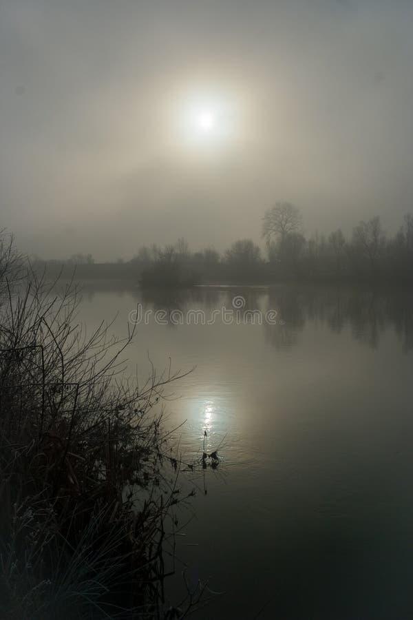 Bezinning van de zon in het water van een rivier in Transsylvanië, Roemenië op een nevelige de winterochtend stock foto