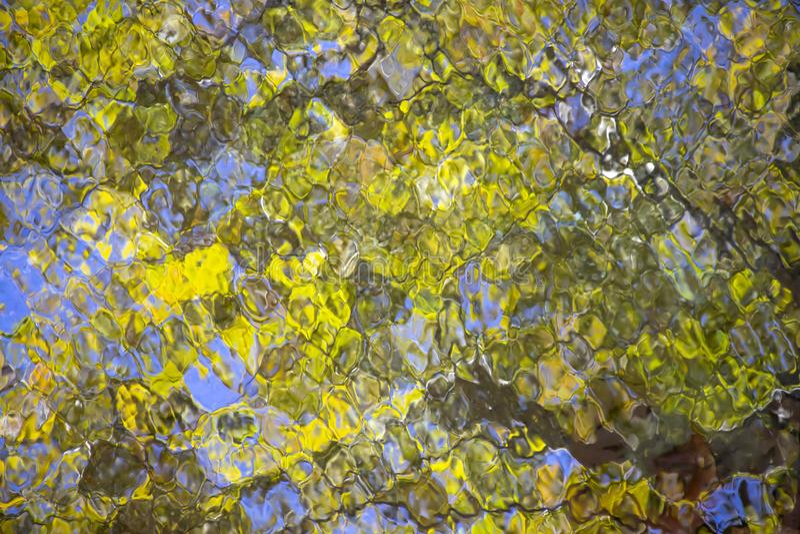 Bezinning van groen de herfstgebladerte en blauwe hemel in het water van een vijver stock afbeelding