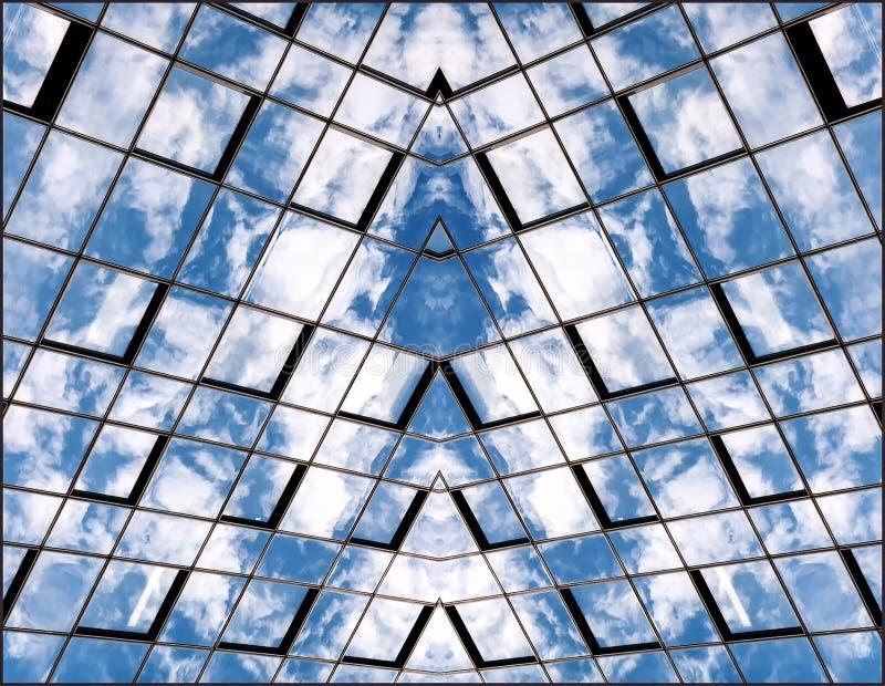Bezinning van hemel en wolken in de Vensters stock afbeelding