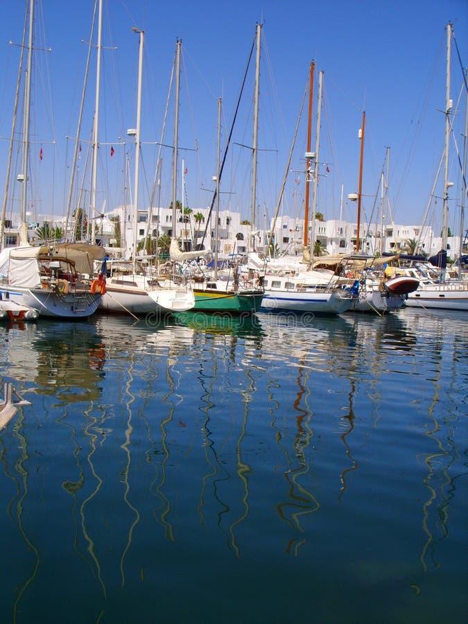 Bezinning van Jachtenhaven Gr Kantaoui Marina Tunisia stock foto
