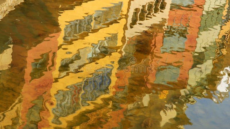 Bezinning van kleurrijke voorgevels van Girona op de rivier Onyar stock afbeelding