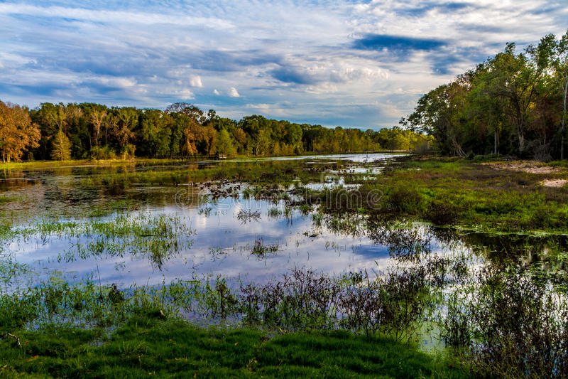 Bezinningen over Kleurrijk Creekfield-Meer met Interessante Wolkenvormingen en Dalingskleuren. royalty-vrije stock foto