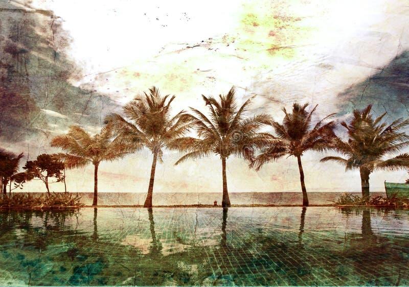 Bezinningen van palmen stock fotografie