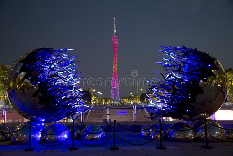 Bezirk-Turm Nachtin den szenen Guangzhous China lizenzfreie stockbilder