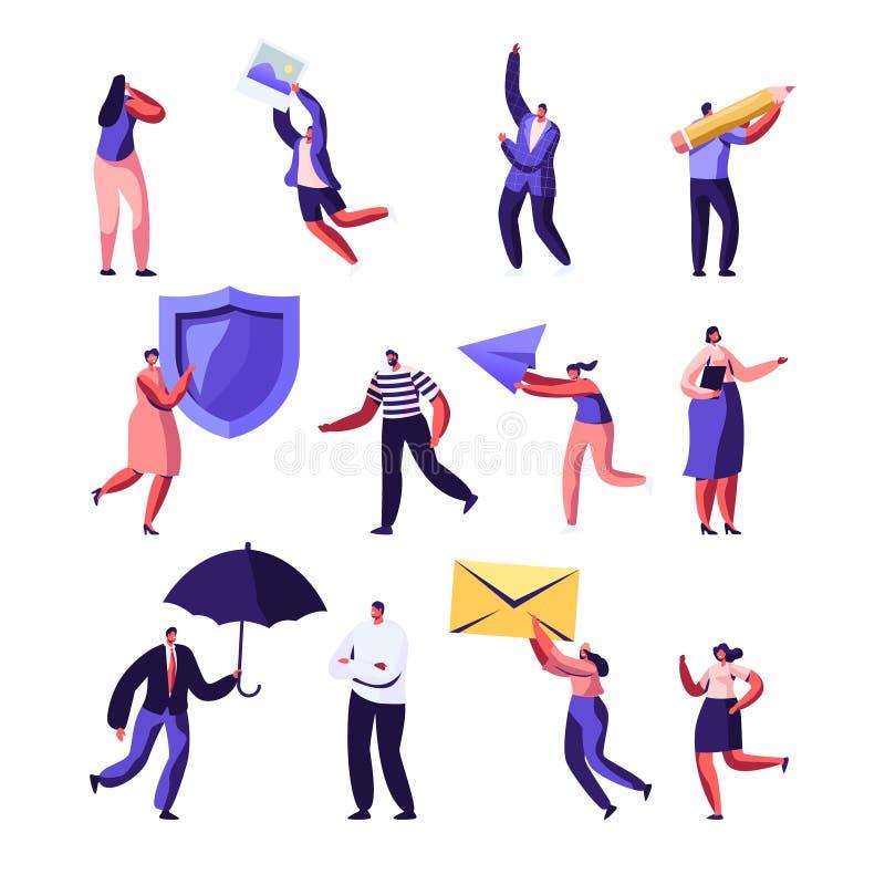 Bezit, Gezondheids Medische Verzekering, PR, de Sociale Media Reeks van de Voorzien van een netwerkdienst Het mannelijke en Vrouw royalty-vrije illustratie