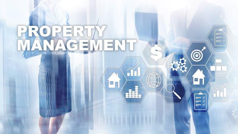 Bezitsbeheer Bedrijfs, Technologie, van Internet en van het netwerk concept Samenvatting Vage Achtergrond royalty-vrije stock afbeeldingen