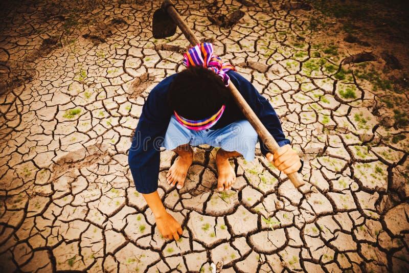 Beznadziejny i osamotniony rolnik sitiing na suchej ziemi i znajduje Żywe rośliny Globalne ocieplenie kryzys zdjęcia royalty free