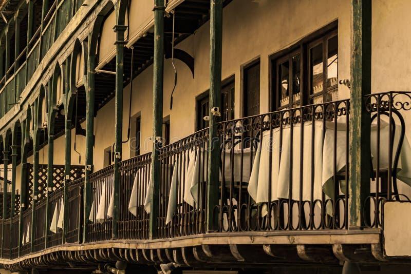 Bezoek aan de middeleeuwse stad van Chinchon, Madrid, Spanje stock foto