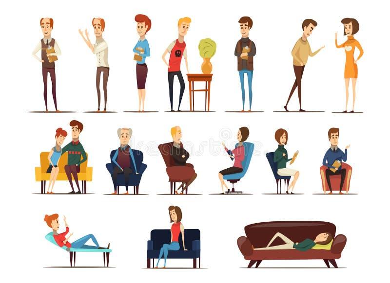 Bezoek aan Psycholoog Set vector illustratie