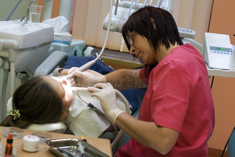 Bezoek bij de tandarts royalty-vrije stock fotografie
