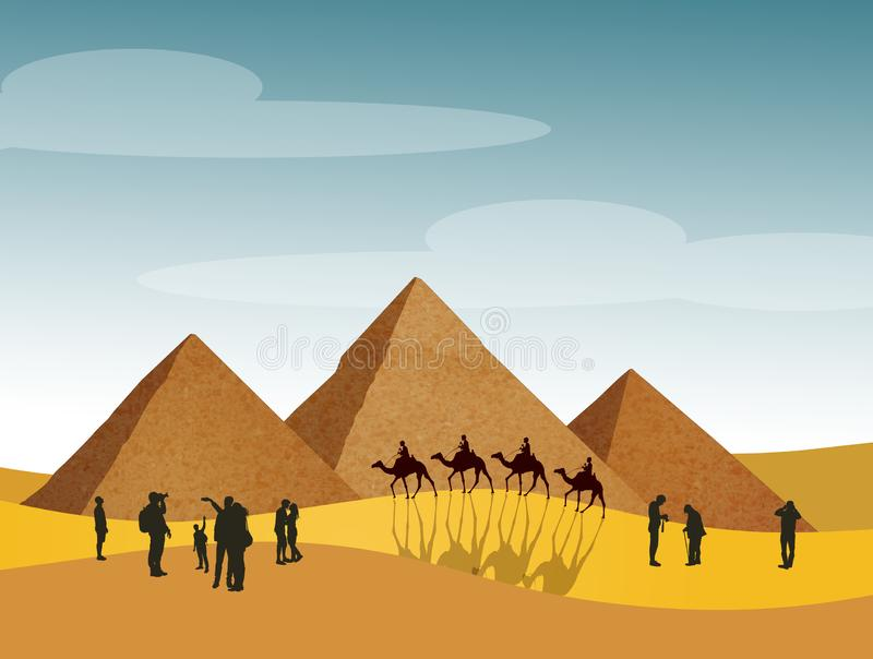 Bezoek de piramides in Egypte vector illustratie