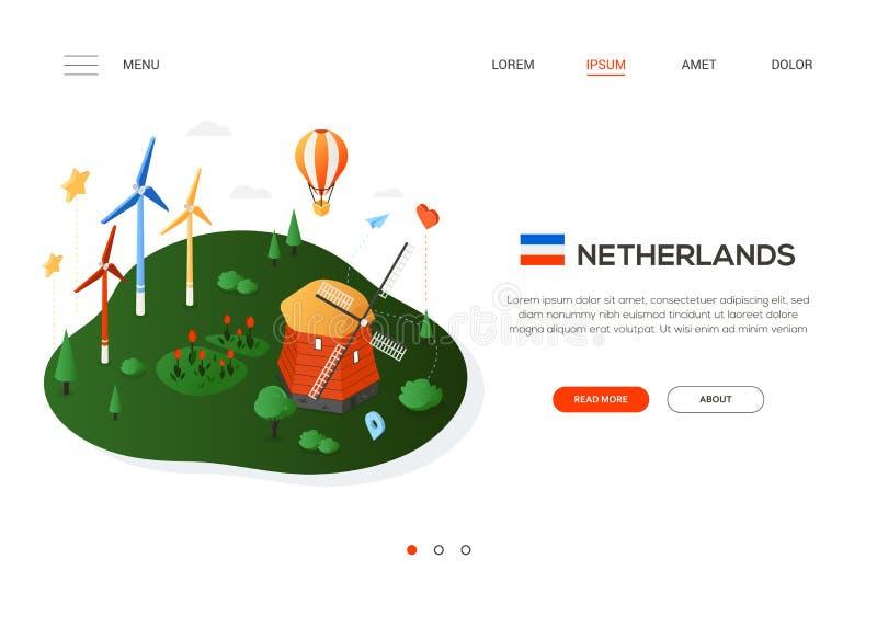 Bezoek Nederland - moderne kleurrijke isometrische Webbanner stock illustratie