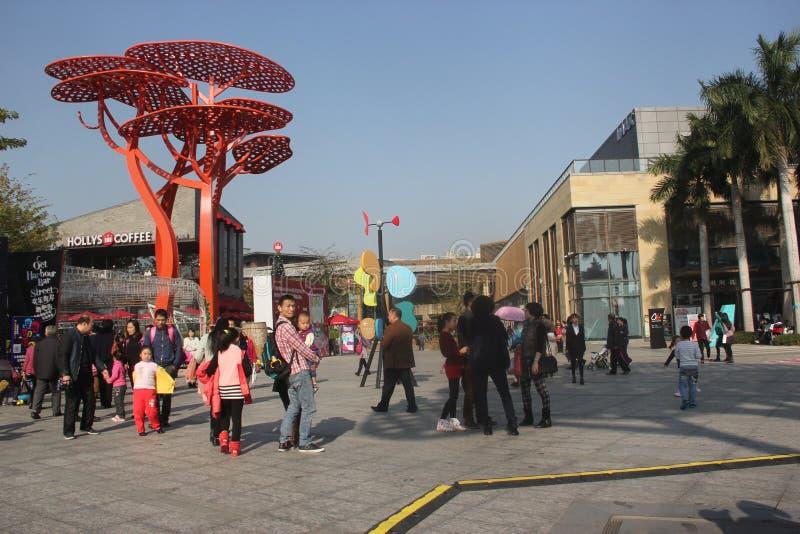Bezoek shenzhen het plein van de vreugdekust van Toeristen stock fotografie