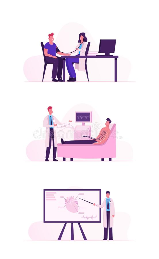 Bezoek van patiënt Cardiologie Klinisch voor medische hartcontrole omhoog Doctor die de mannelijke client onderzoekt, bloeddruk m stock illustratie
