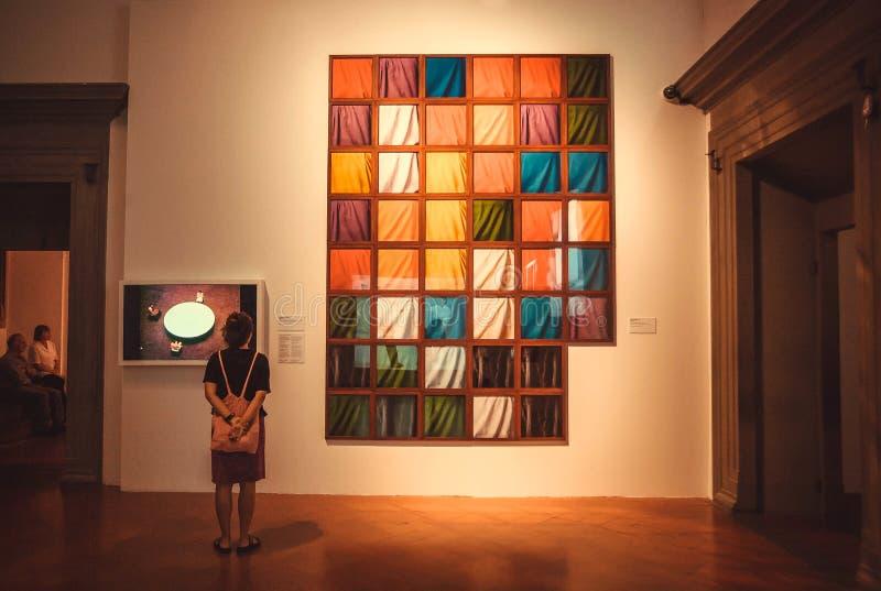 Bezoeker van eigentijdse kunsttentoonstelling van kunstenaar Marina Abramovic stock foto