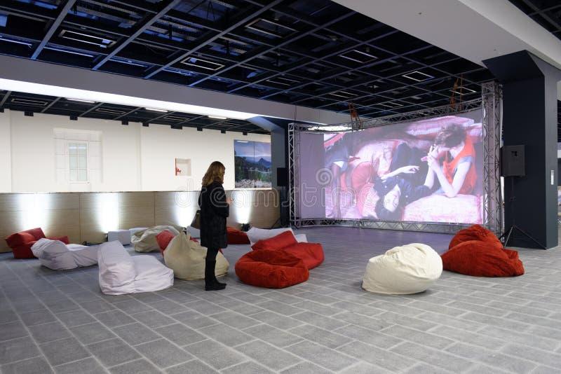 Bezoekers in de Centrale Tentoonstelling Hall Manege in St. Petersburg royalty-vrije stock fotografie