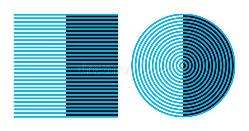 Bezoldeffect op vierkant en cirkel, optische illusie royalty-vrije illustratie