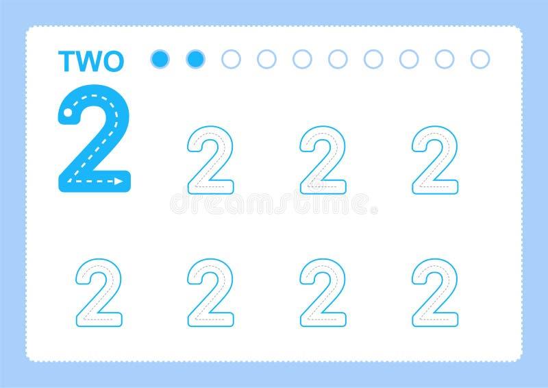 Bezpłatne handwriting strony dla pisać liczą uczenie liczby, Liczą kalkowania worksheet dla dziecina ilustracja wektor