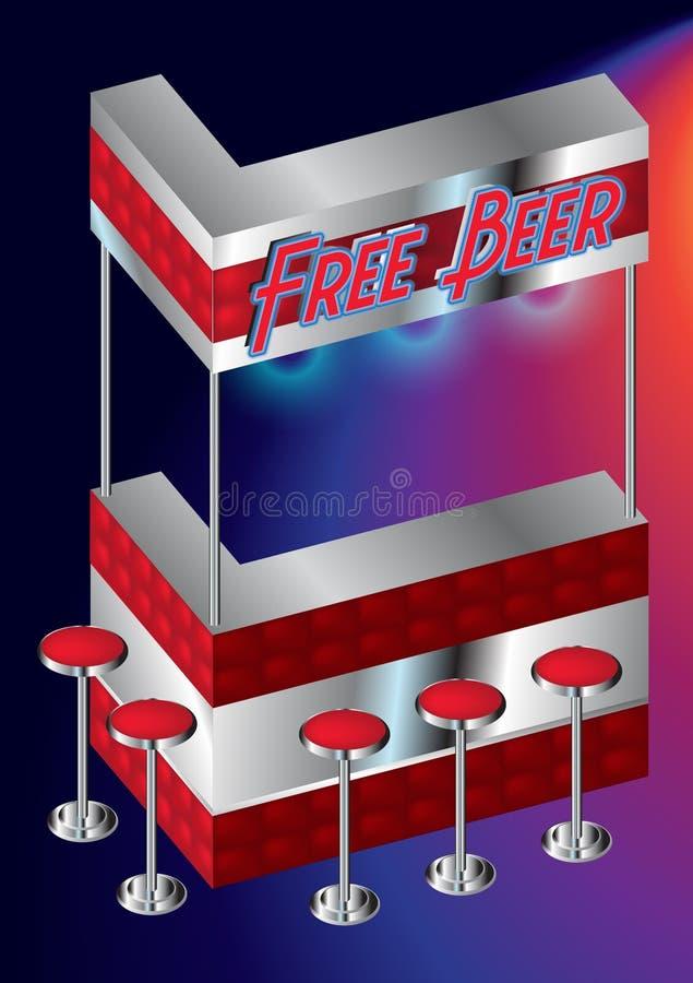 Bezpłatny piwo - Pusty Czerwony Mini baru kontuar royalty ilustracja