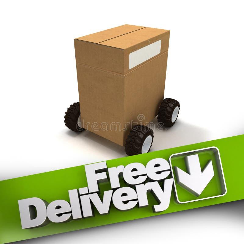 Bezpłatna dostawa, pudełko na kołach ilustracji
