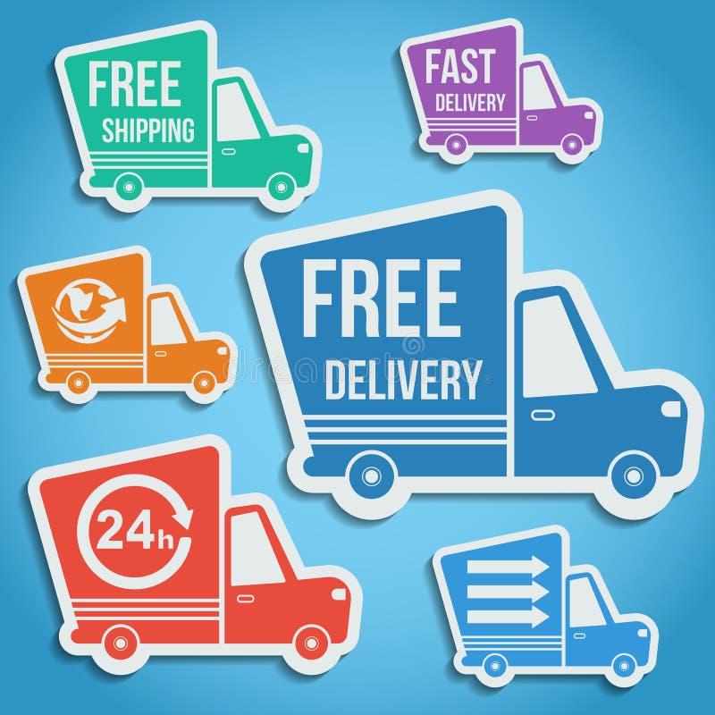 Bezpłatna dostawa, szybkie doręczeniowe ikony ustawiać wektor ilustracja wektor