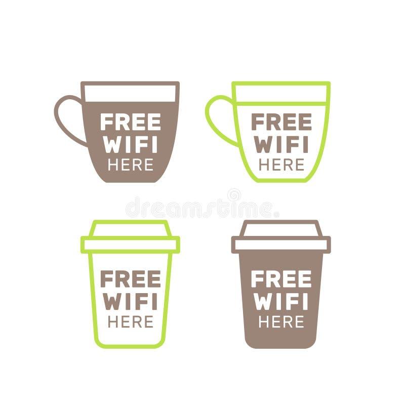 Bezpłatna Fi połączenie z internetem usługa, Jawny punkt zapalny, Cukierniany teren, Graficzna majcher informacja ilustracja wektor
