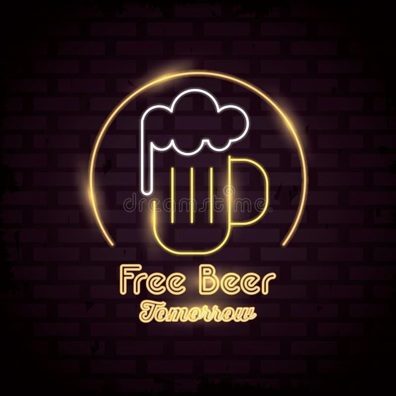 Bezpłatna Piwna neonowych świateł ikona ilustracja wektor