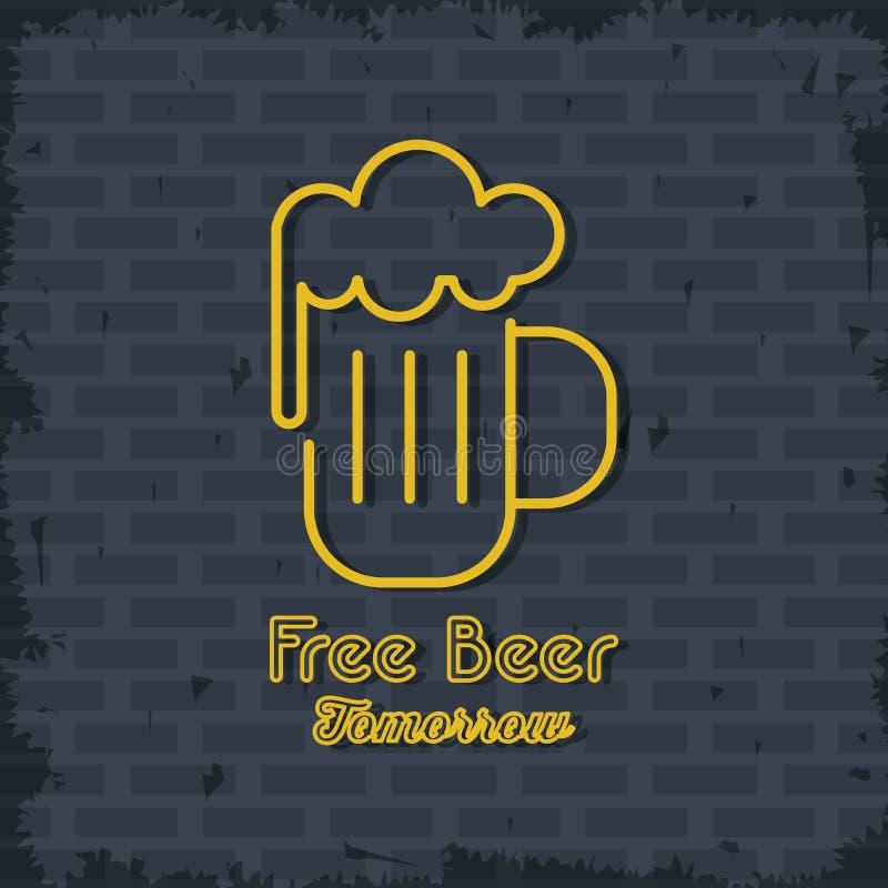 Bezpłatna Piwna neonowych świateł ikona ilustracji