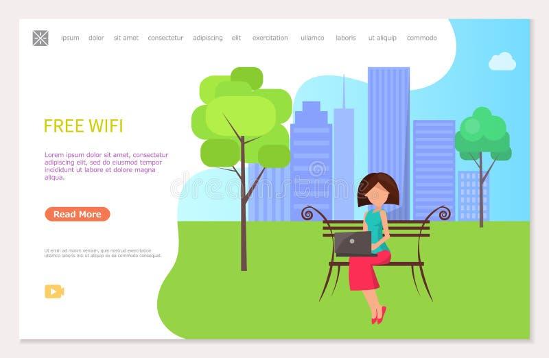 Bezpłatna Wifi strefa w miasto parka kobiety obsiadaniu na ławce royalty ilustracja