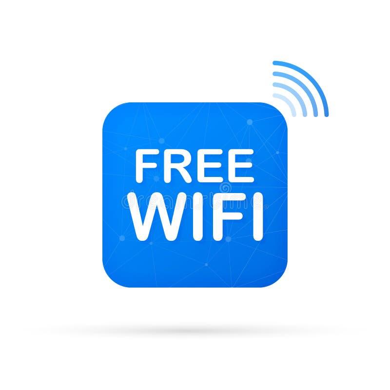 Bezpłatna wifi strefy błękita ikona Bezp?atny wifi znaka poj?cie tutaj r?wnie? zwr?ci? corel ilustracji wektora royalty ilustracja