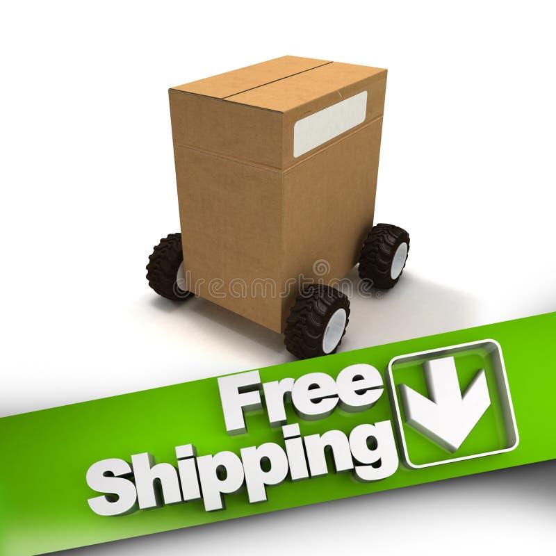 Bezpłatna wysyłka, pudełko na kołach ilustracja wektor
