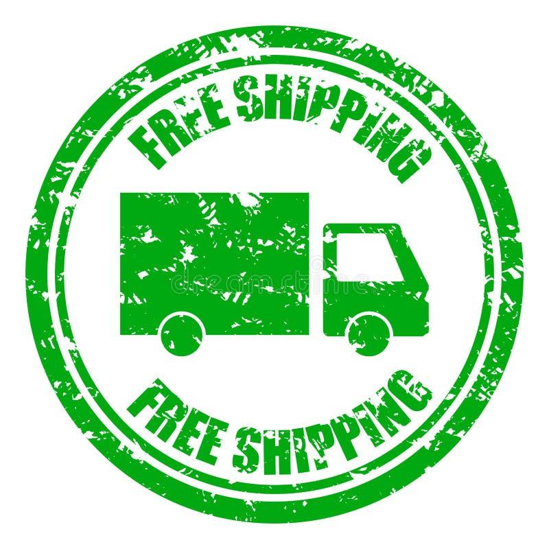 Bezpłatna wysyłki gwarancji pieczątka z ciężarówką ilustracja wektor