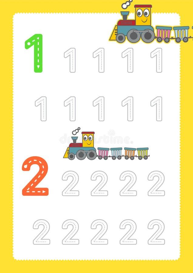 Bezpłatne handwriting strony dla pisać liczą uczenie liczby, Liczą kalkowania worksheet dla dziecina z taborowym kreskówka pociąg ilustracja wektor