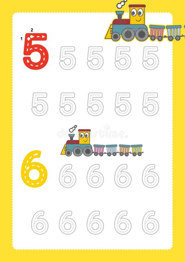Bezpłatne handwriting strony dla pisać liczą uczenie liczby, Liczą kalkowania worksheet dla dziecina z taborowym kreskówka pociąg royalty ilustracja