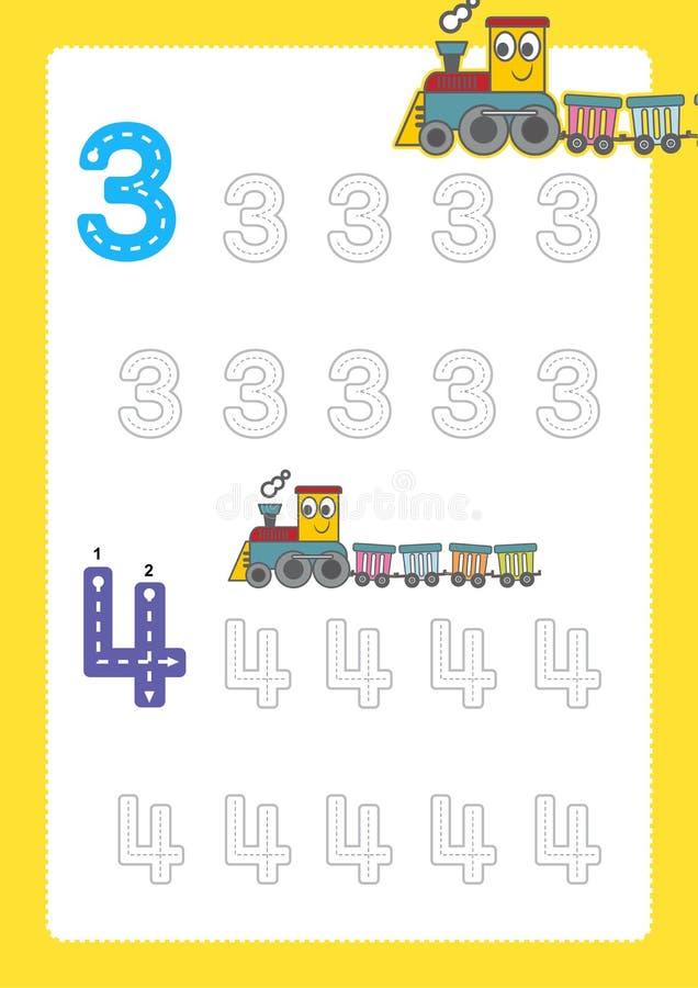 Bezpłatne handwriting strony dla pisać liczą uczenie liczby, Liczą kalkowania worksheet dla dziecina z taborowym kreskówka pociąg ilustracji