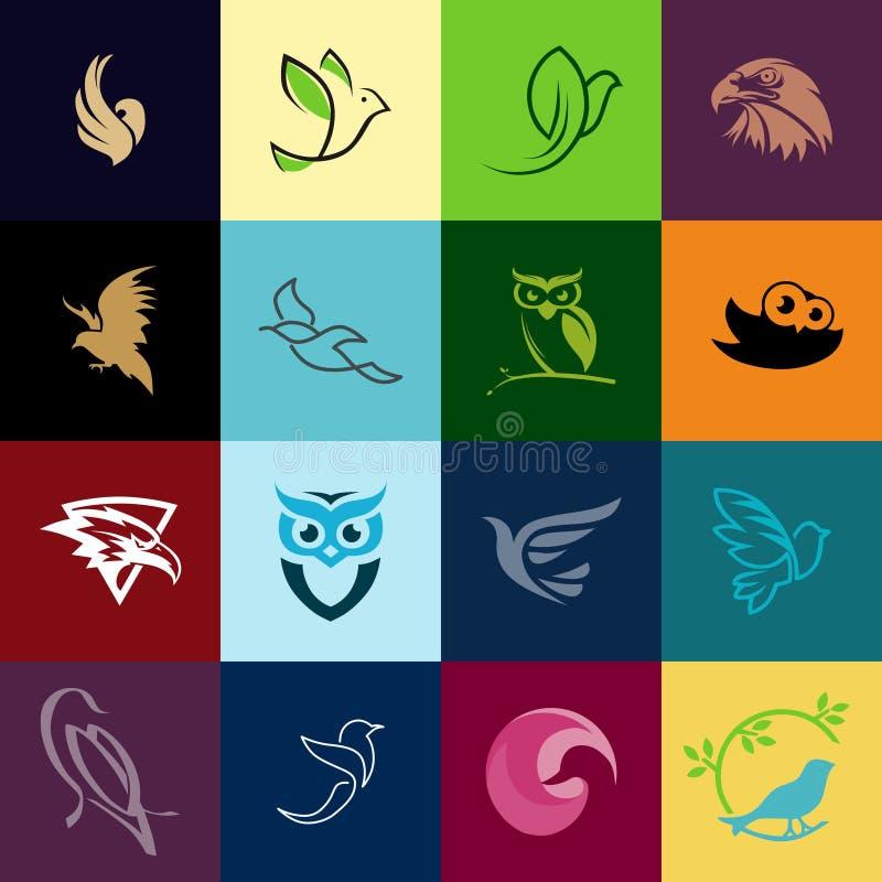 Bezpłatnego Wektorowego ptasiego logo mega paczka ilustracji