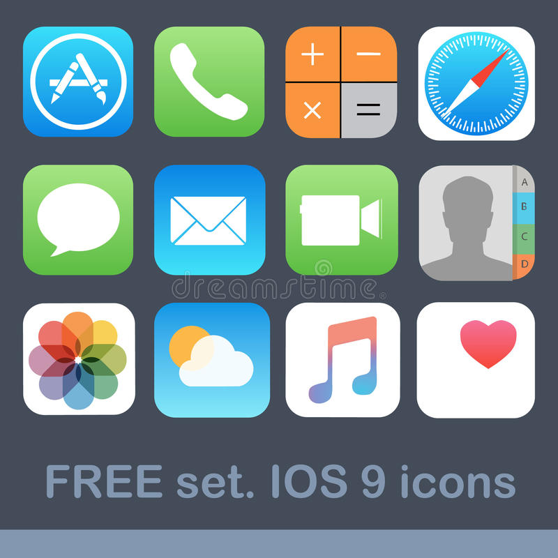 Bezpłatnej ikony ustalony IOS 9 royalty ilustracja