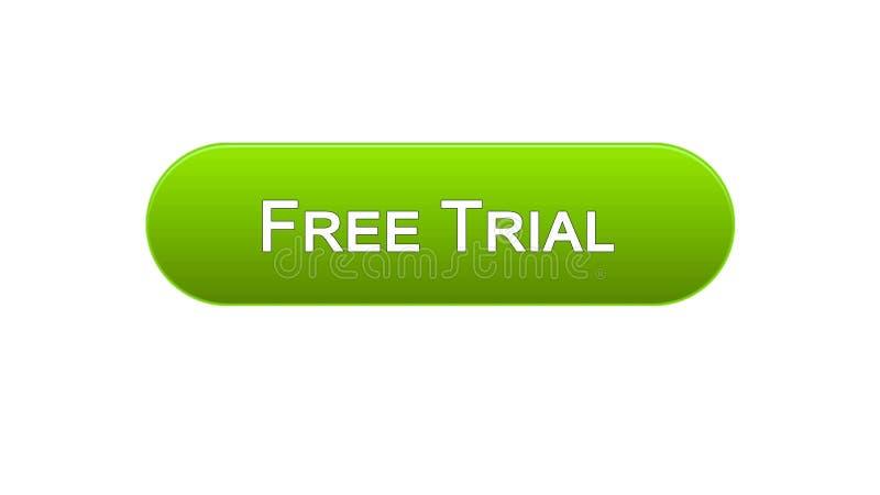Bezpłatnej próby sieci interfejsu guzika zielony kolor, podaniowa reklama, oprogramowanie ilustracji