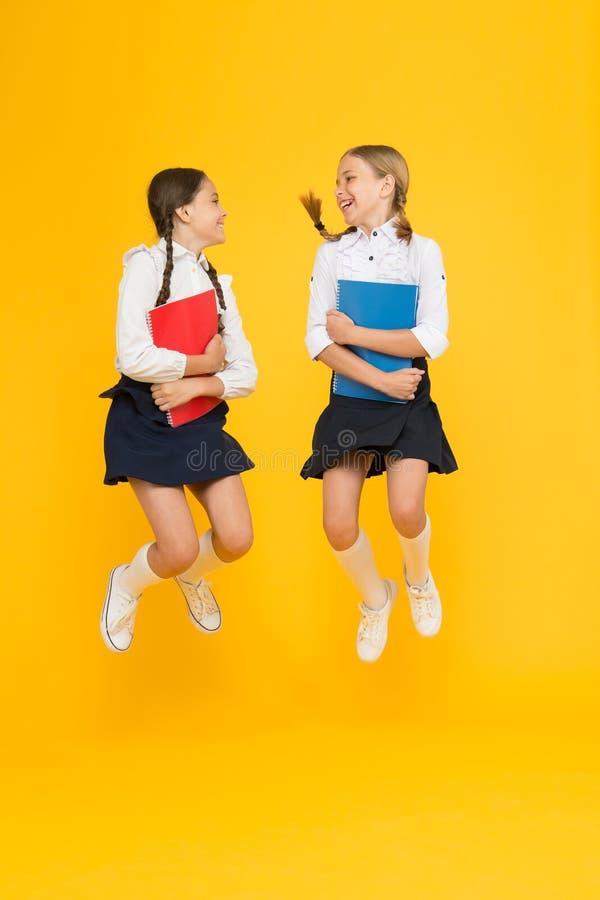Bezpłatni dzieci małe dziewczynki w mundurku szkolnym rozochoceni koledzy z klasy z workbook Czytelnicza opowie?? Dziecko literat zdjęcie stock