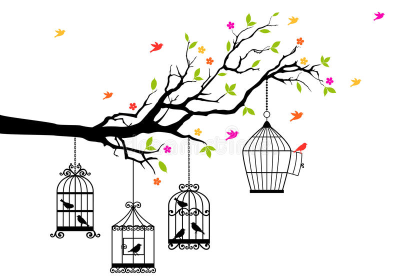 Bezpłatni ptaki i birdcages, wektor ilustracji