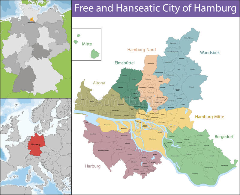 Bezpłatny i Hanzeatycki miasto Hamburg ilustracji