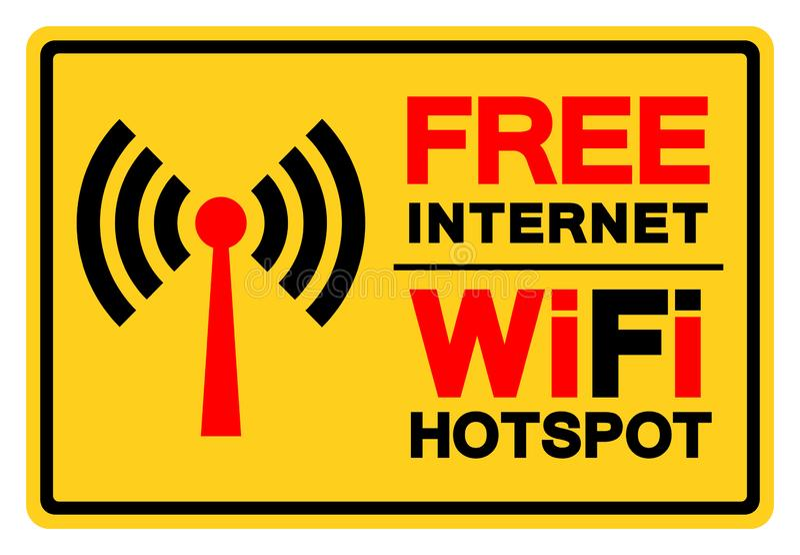 Bezpłatny Internetowy WiFi punktu zapalnego symbolu znak, Wektorowa ilustracja, Odizolowywa Na Białej tło etykietce EPS10 royalty ilustracja