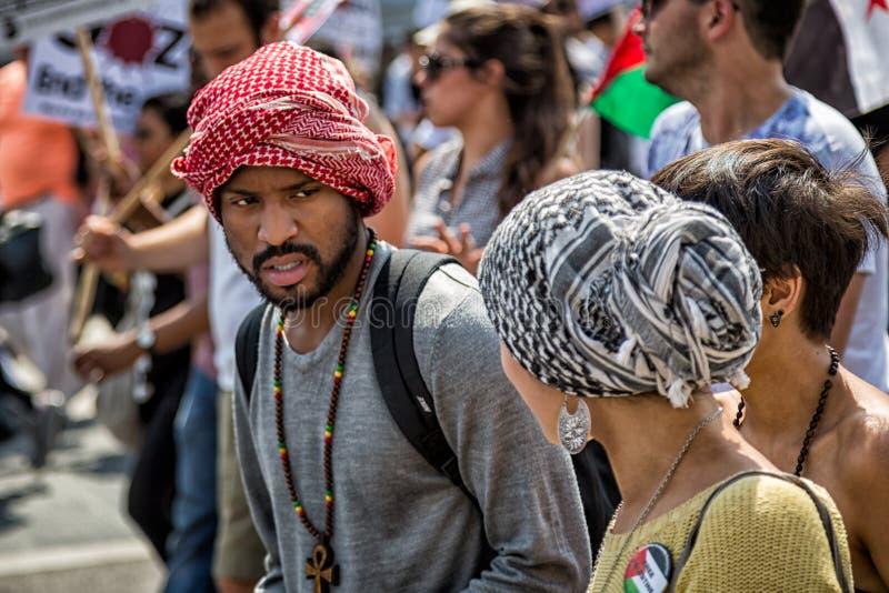 Bezpłatny Palestyna marsz protestacyjny w Hyde parku, Londyn, UK obraz stock