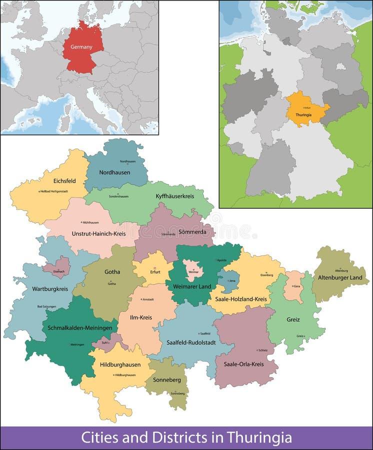 Bezpłatny stan Thuringia ilustracja wektor