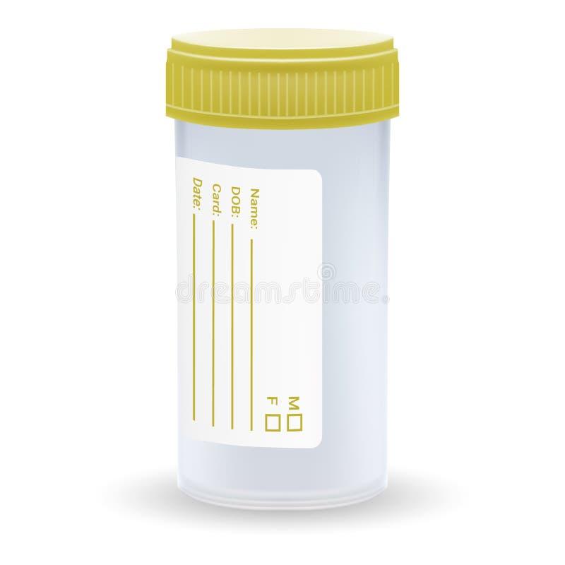 Bezpłodny Plastikowy Medyczny zbiornik Pusty szablon Jasny Pusty Przejrzysty słój royalty ilustracja